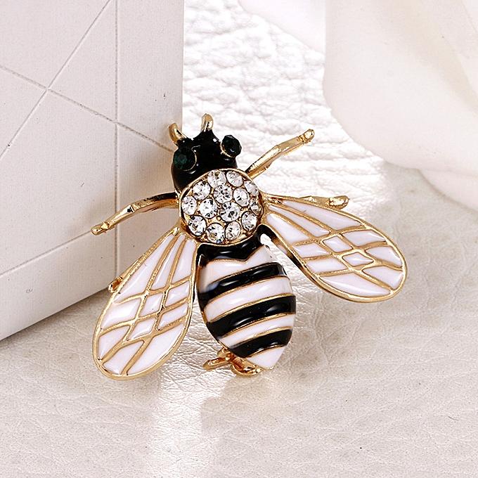 6aae905b5 Hiamok Crystal/Rhinestone Lovely Bee Gold Silver Plated Women's Collar Brooch  Pin