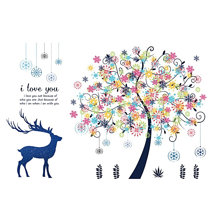 Awe Inspiring Colorful Deer Snowflake Tree Living Room Bedroom Wall Stickers For Christmas Multi Color Mixed Download Free Architecture Designs Scobabritishbridgeorg