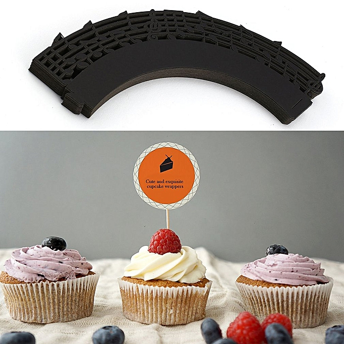 50pcs Laser Cut Cupcake Wrappers Music Notes Muffin Case Cake Paper Cup Liner Black