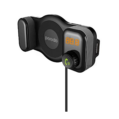 Porodo PD-T15A - Phone Holder with Bluetooth and Car Charger (Stream Music,  Call, Charge (5V/2 1A)) - Black