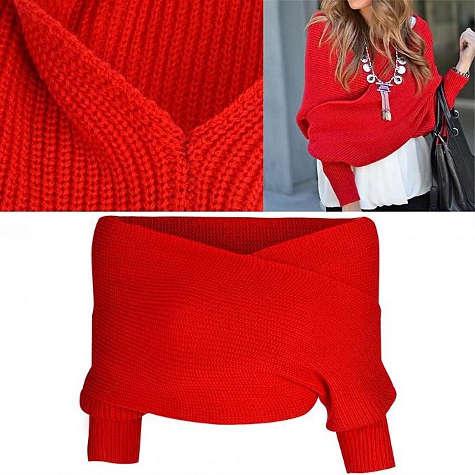 f81e7227ed7 1pc Fashionable Women Off Shoulder Knitwear Cross Wrap Full Sleeve Sweater  (Red)