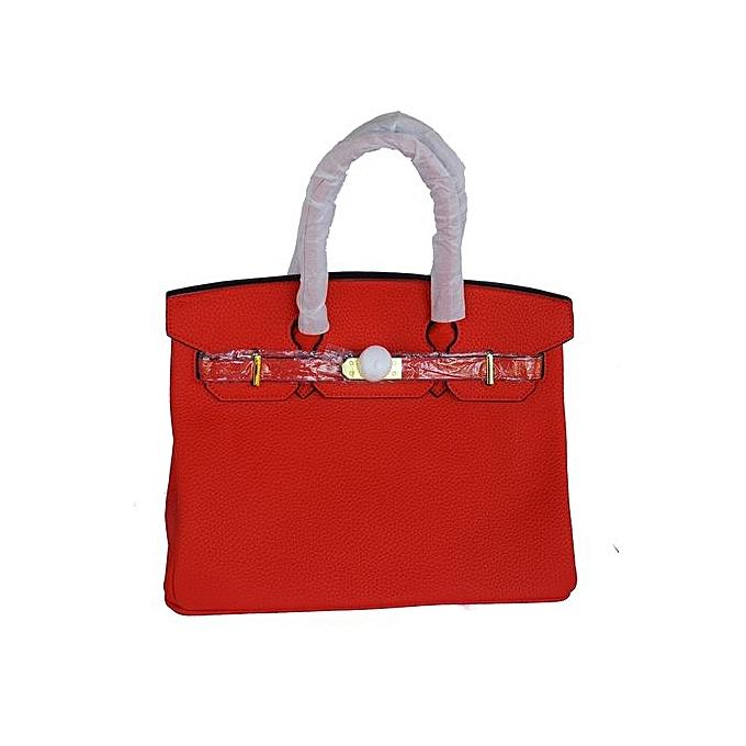 Designer Inspired Fashion Satchel Top Handle Handbag With Padlock Red
