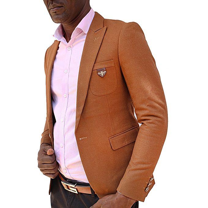 Men's Slim Fit One Button Suit Blazer Coat -Brown