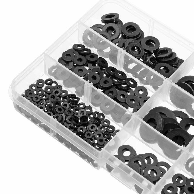 Suleve™ MXNW1 500pcs White Black Flat Nylon Washer Lock Washers Gasket Kit  M2-M8