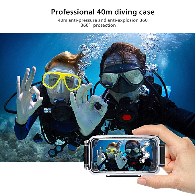 separation shoes ce9a9 0e937 PULUZ for iPhone X & XS 40m/130ft Waterproof Diving Housing Case for  Surfing Swimming Photo Video Taking Underwater Cover (Black)
