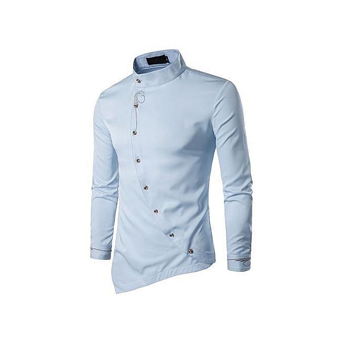 edeb60e7bfa4 Refined Mens Long Sleeve Embroidery Shirts Irregular Casual Shirt Solid  Color Cotton Shirts-Light Blue