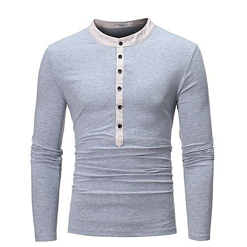 1dc2545d512 Buy FASHION Men's Long Sleeve T-Shirt Unique Color Autumn Winter Date  Button Shirts-light gray online | Jumia Uganda