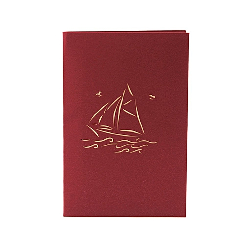 3d Pop Up Greeting Cards Smooth Sailing Post Card Christmas Decoration Red Blue