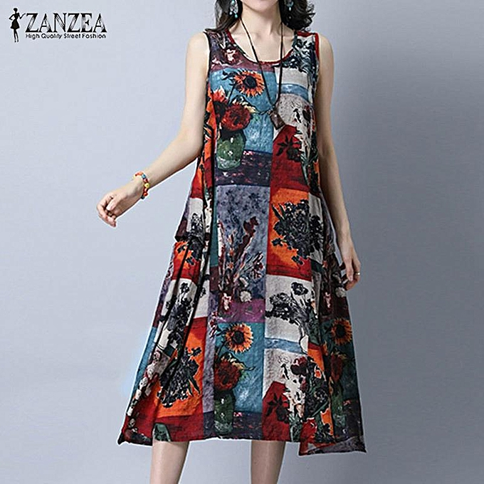 d085b26e85442c ZANZEA Plus Size Women Vintage Print Dresses Summer Sleeveless Loose  Pockets A Line Dress Casual Crew
