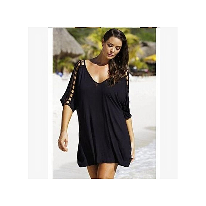 d031a5c246469 Big Size Sexy Women Vacation Beach Dresses Half Sleeve V-neck Hollow Casual  Madi Dresses -black
