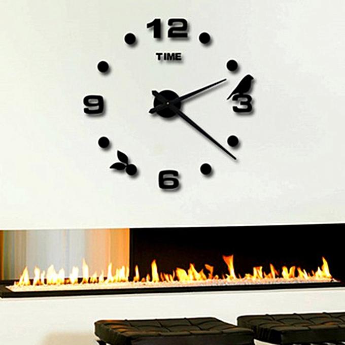 DIY large size 1 meter Nordic bird digital clock Black