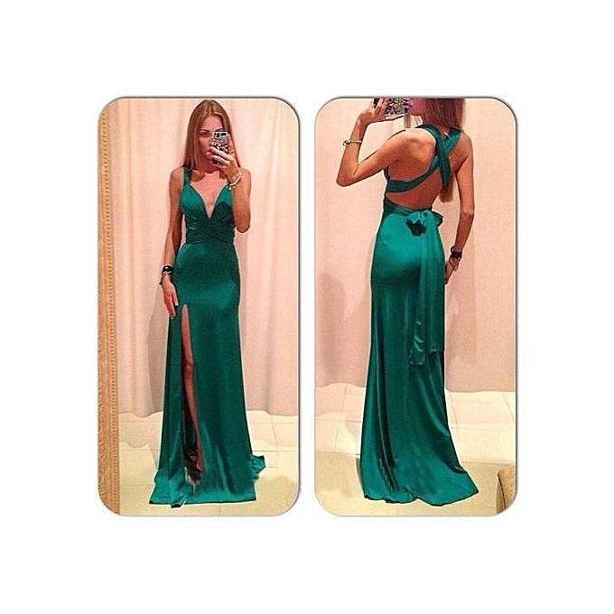 eb5932a191422 Women Convertible Multi Way Wrap Maxi Dress Backless Sexy Beach Sundress  Bridesmaid Party Dresses Bandage Bodycon Long Prom Gown-green
