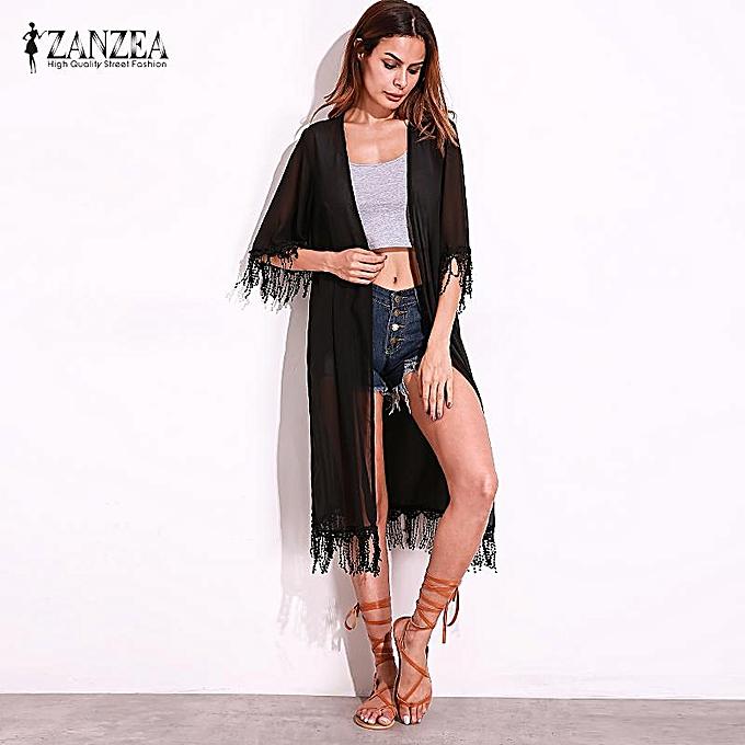 afcb8a6126 Buy FASHION ZANZEA Spring Summer Fashion Womens Kimono Tassel Cardigan  Patchwork Lace Chiffon Half Sleeve Long Loose Beach Cover Ups Black online  | Jumia ...