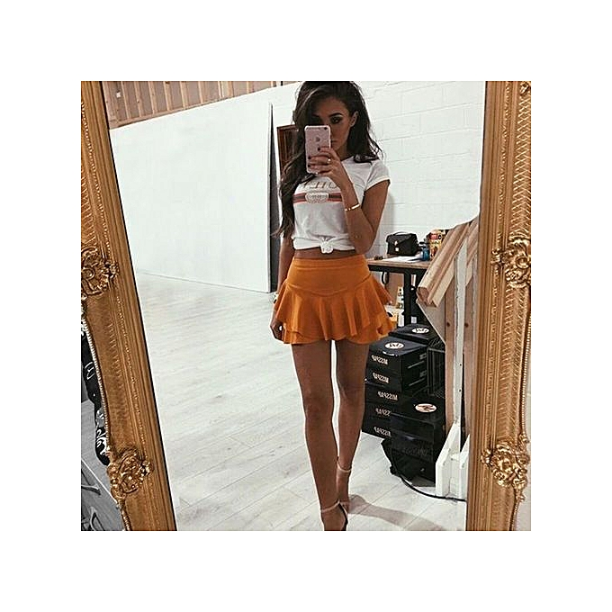a79e9179c Buy Generic Stylish Women Ultra Short Divided Skirt Irregular ...