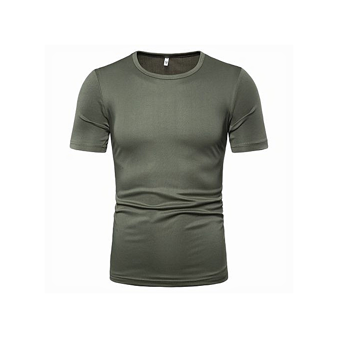 b8e2d3b78341 Buy FASHION casual men's solid color casual round neck shirt-army ...