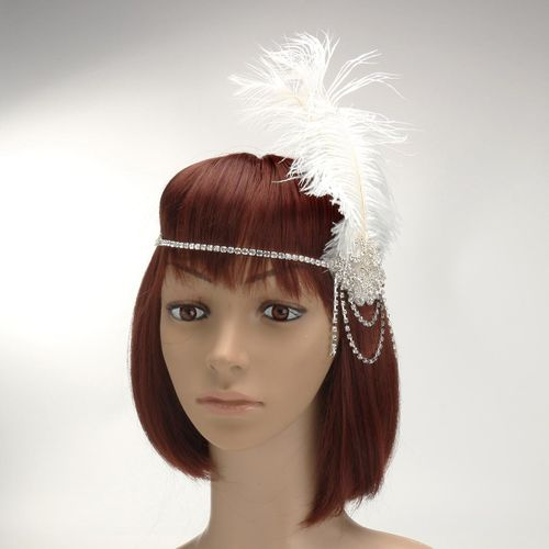 Artificial Feather Flapper 1920s Headband Great Gatsby Wedding Headpiece