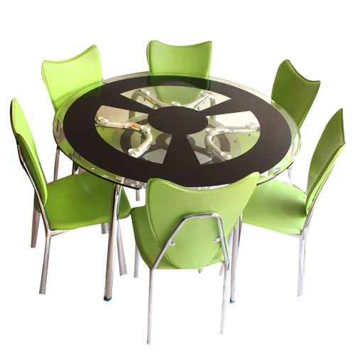 Shop Generic Round Dining Table 6 Seater Green chairs ...
