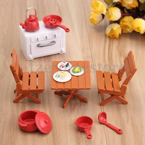 Shop Dining Table with 4 chairs Set Miniature DollHouse ...