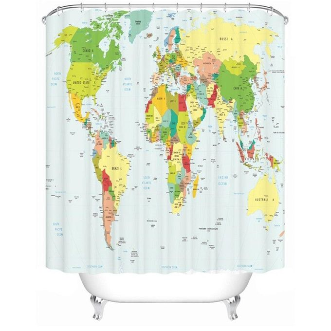 180X180cm Polyester World Map Bathroom Bath Waterproof Fabric Shower  Curtain Set