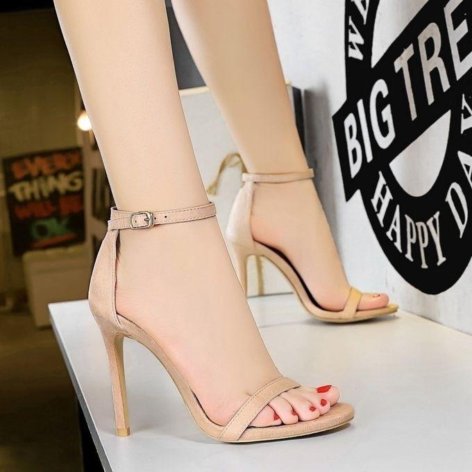 Suede High Heel Open Toe Sandals Shoes