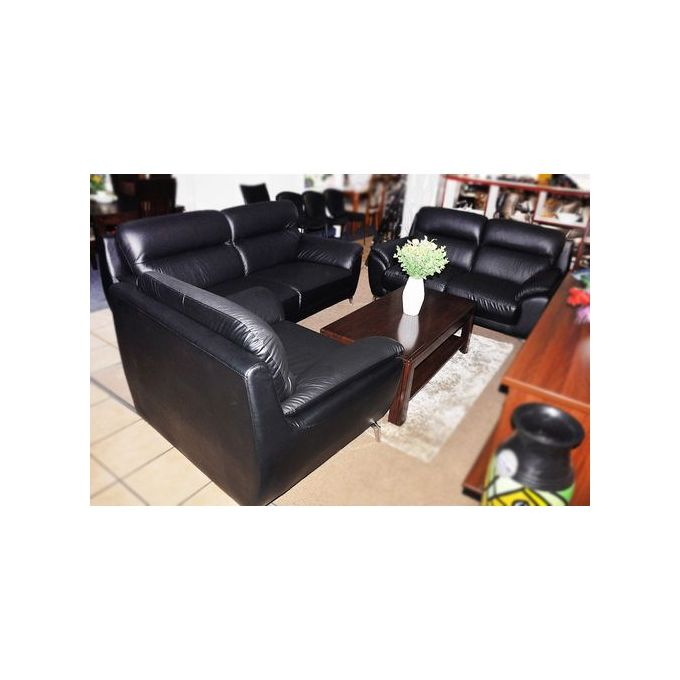 Tremendous Executive Genuine Faux Leather 7 Seater Sofa Set Black Gmtry Best Dining Table And Chair Ideas Images Gmtryco