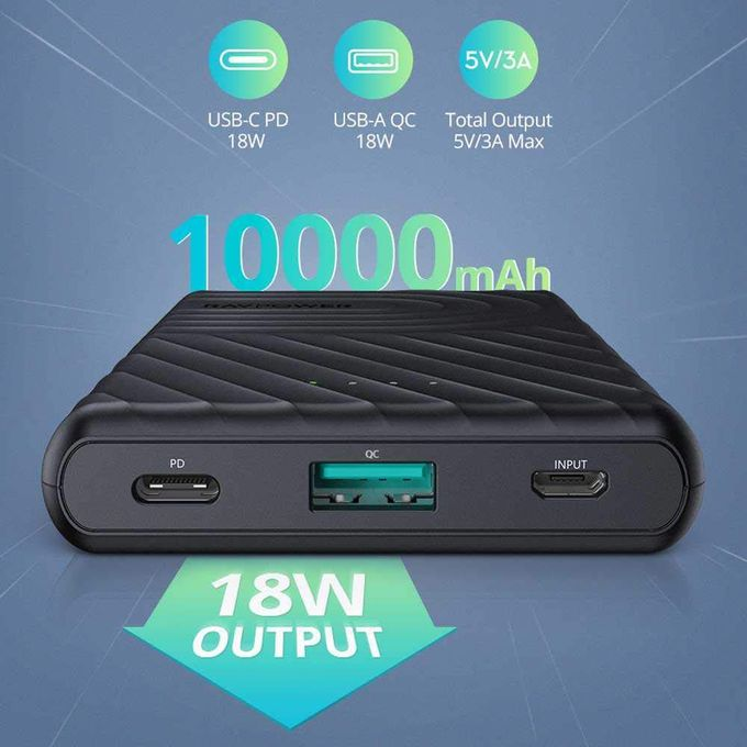 product_image_name-Ravpower-2-Port PD Pioneer Power Bank 10000mAh 18W with iSmart Charging - Black-3