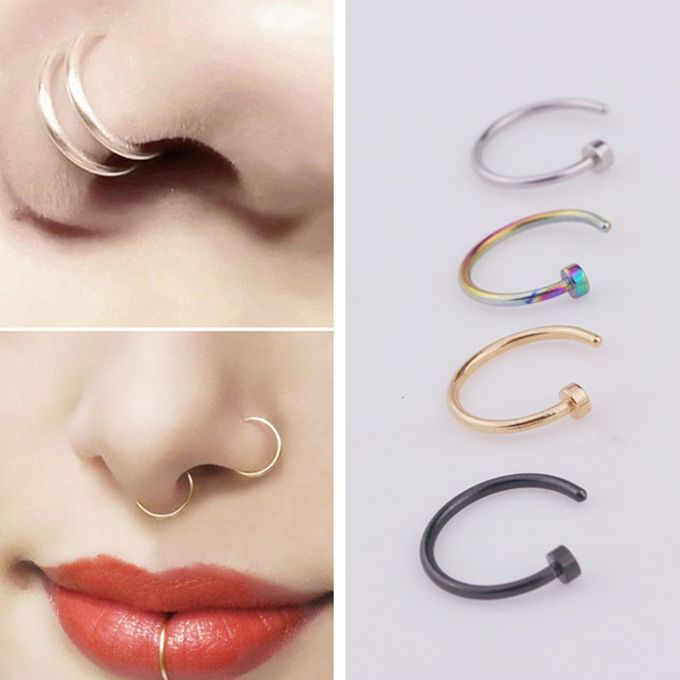 Shop Stainless Steel Nose Ring Hoop Fashion Stud Body Piercing