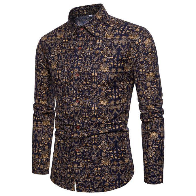 GenericMen Button Down Shirts Ink Print Long Sleeve Casual Dress Shirts