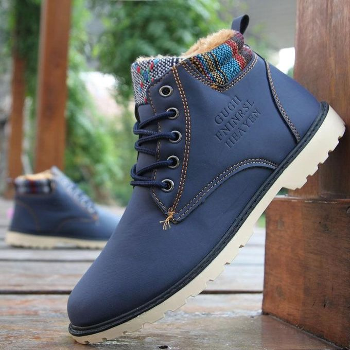 Stylish Warm Casual Men Leather High Top Loafers Shoes Ankle Boots Sneakers