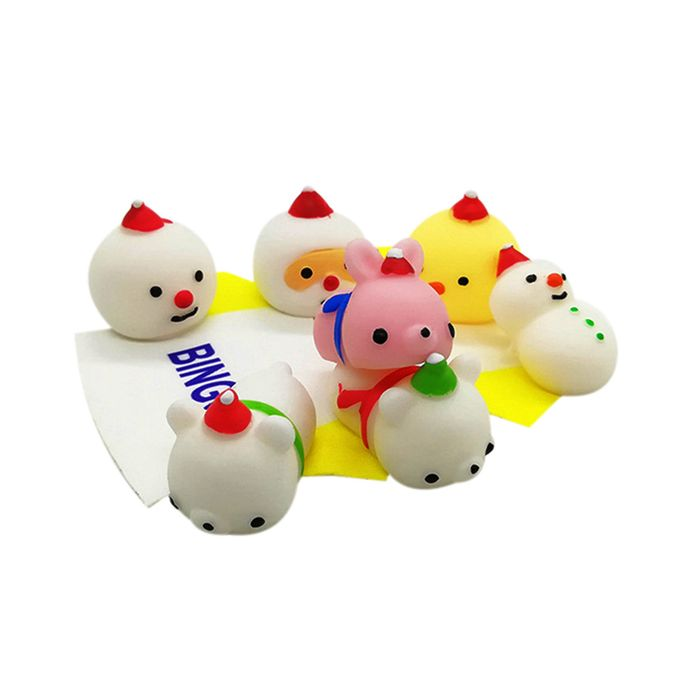24pc Christmas Toys Mini Cute Squeeze Funny Toy Soft Stress Relief Toy Diy Decor