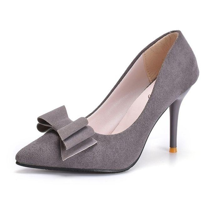 Shop 9cm Single Shoes Bow Suede High Heel Shoes Grey Jumia Uganda