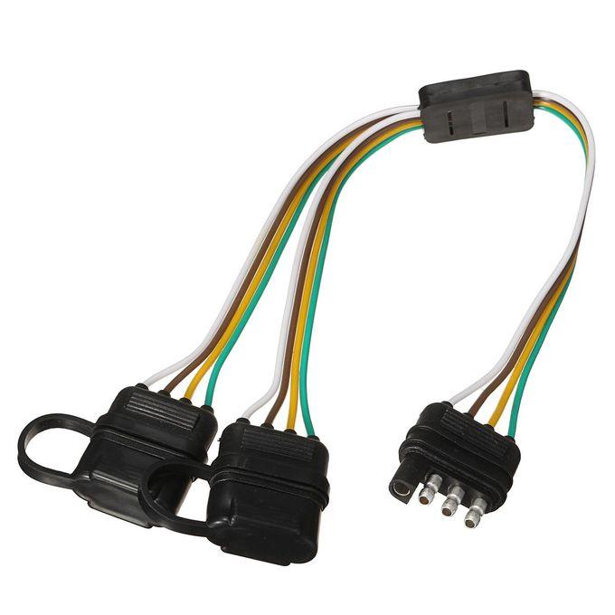 Trailer Splitter 2-Way 4 Pin Y-Split Wiring Harness Adapter for LED on