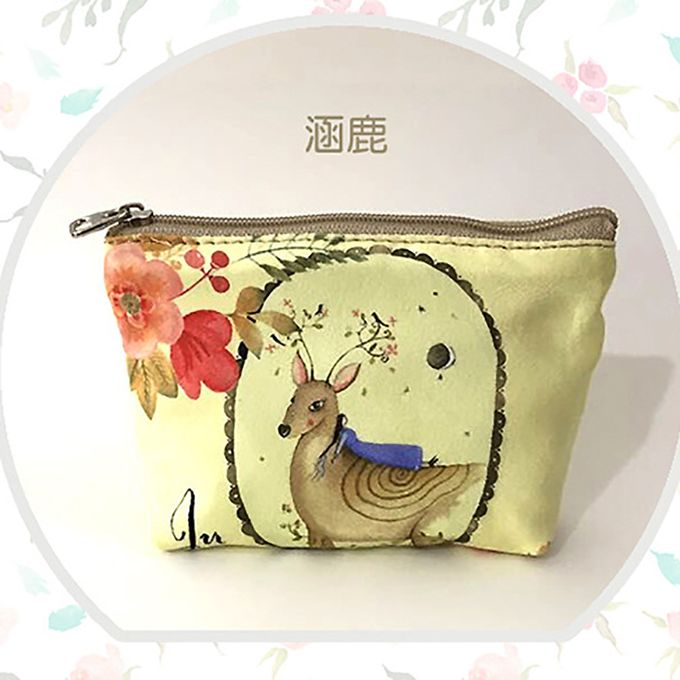Hiamok Case Women Change Pouch Key Holder Animal Printed Canvas Coin Purse