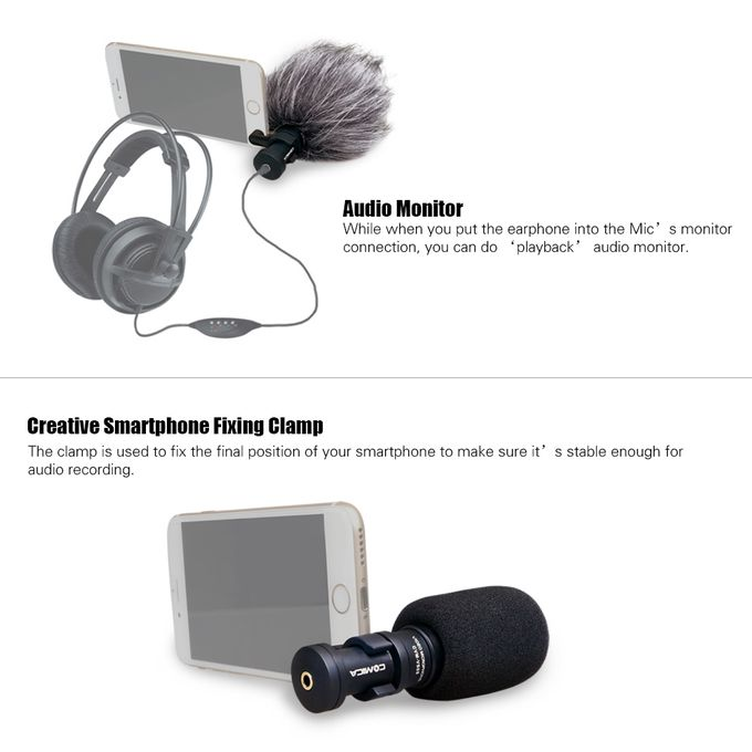 Huawei etc with Wind Muff and Windscreen Comica CVM-VS08 Video Microphone iPhone iPad Professional Mini Cardioid Condenser Directional Portable Phone Mic for Smartphone Samsung