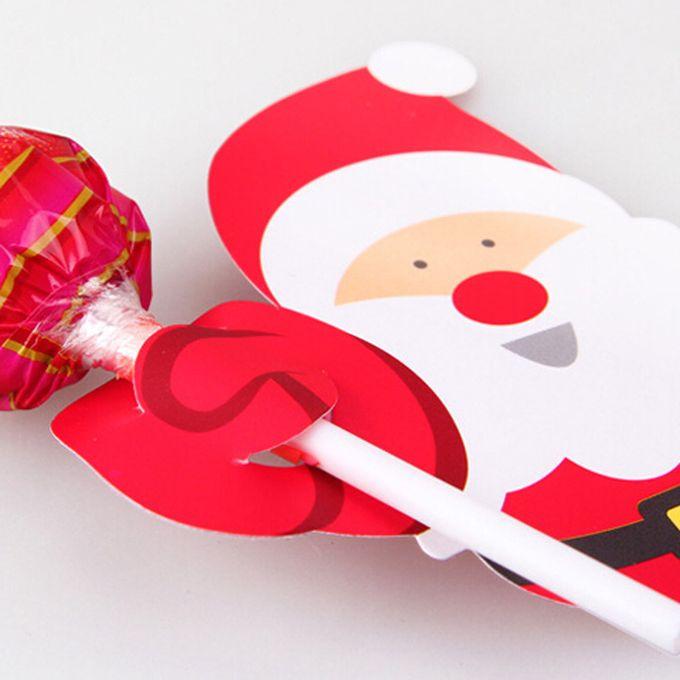 50x Santa Claus Penguin Lollipop Christmas Card lolly sugar-loaf Xmas Party Toy