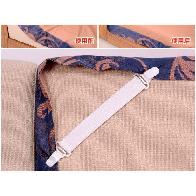 4pcs White Skid Elastic Band Retaining Clip Tool  For Fixed Bedspreads Sheets