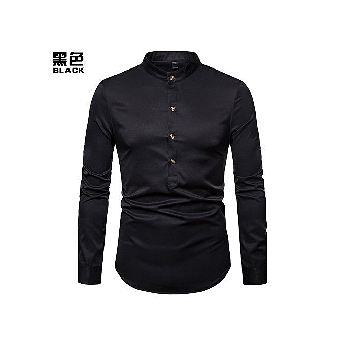 278045b7fa21 Men Shirt Hot Sales Solid colour Henry With Large Size Brand Shirt  Long-Sleeve Shirt