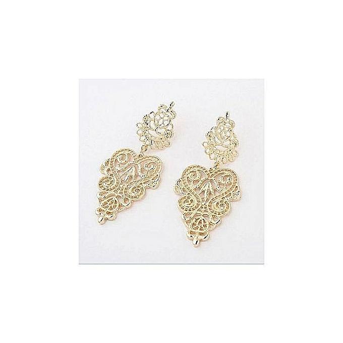 Women Ladies Earrings Bohemia Style Hollow Earring Stud —Gold