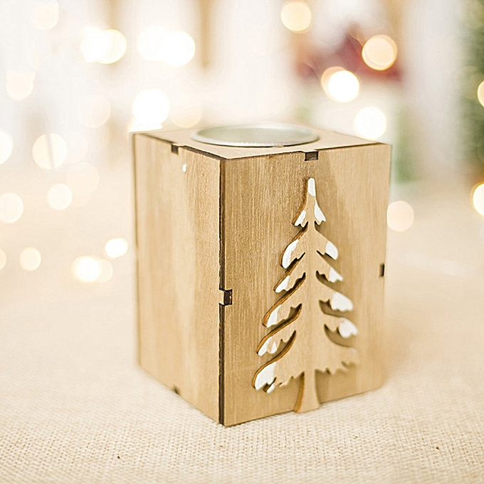 Christmas Wooden Candlestick Decoration Ornaments Candlestick Candle Holder Christmas Tree