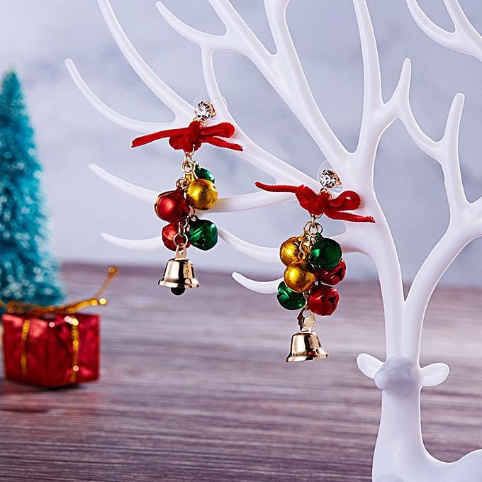 Hiamok Gold Plated Red Crystal Santa Claus Reindeer Christmas Christmas Earrings