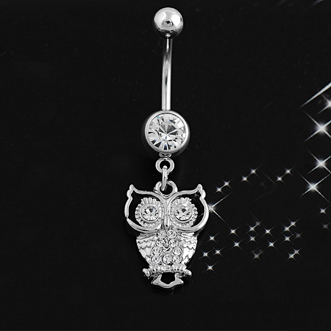 Cute Owl Rhinestone Navel Ring Bell Button Cartoon Body Piercing Jewelry
