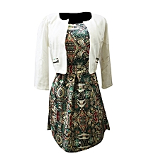 Printed Dress with Coat - White, Green