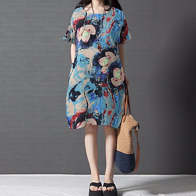 705909348e5e ZANZEA Women Short Sleeve Vintage Boho Cotton Sundress Kaftan Floral Dress  Blue