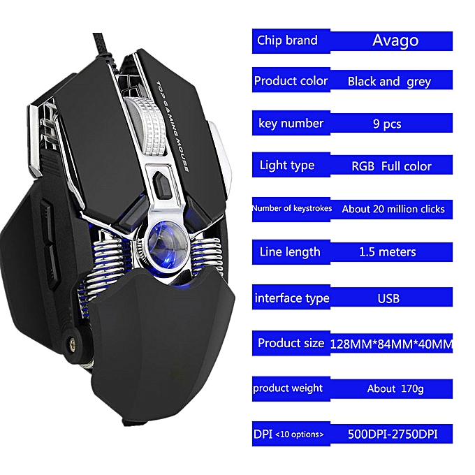 Cable Winder Wired Gaming Mouse 2750dpi Professional 9buttons Rgb Led Optical Mice For Pc