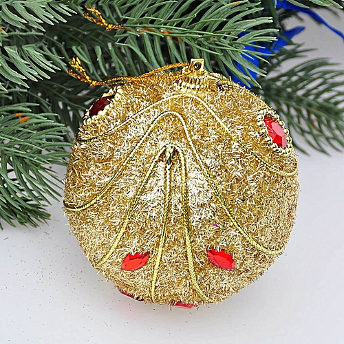 8cm Sequin Christmas Tree Ornament Multi Color Christmas Ball Plastic Ball Gold