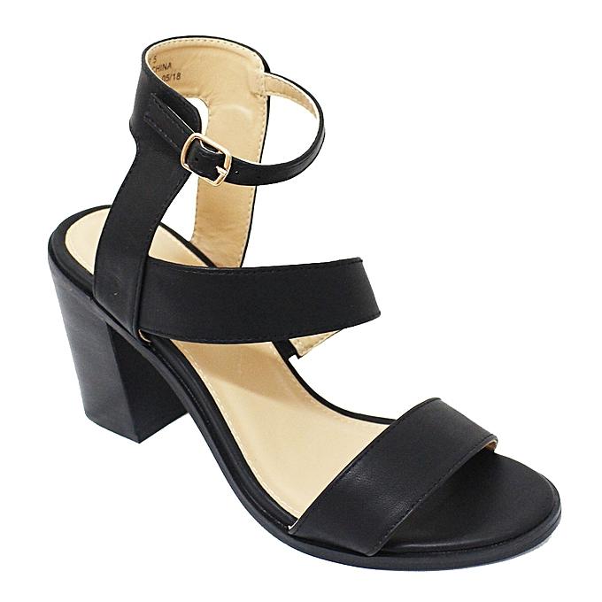 396ef7d1b06 Bata Bata 761-6007 Ankle Strap Block Heel Shoes - Black