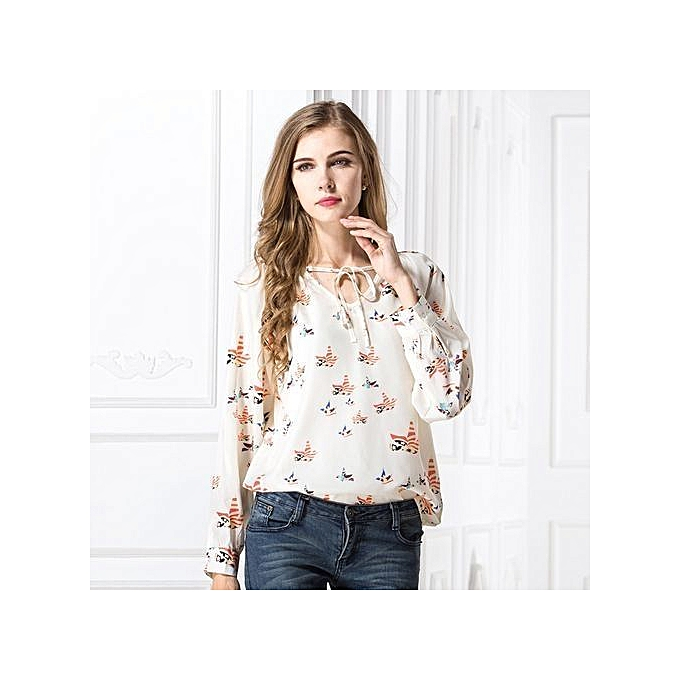27bfdaeea588 ... Spring Autumn Women Tops Long Sleeve Casual Chiffon Blouse Female  V-Neck Work Wear Office ...