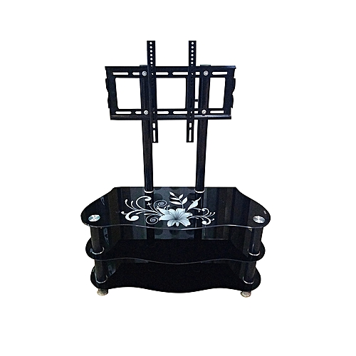 Generic Flower New Glass Tv Stand For 14 55 Inch Tvs Black Jumia