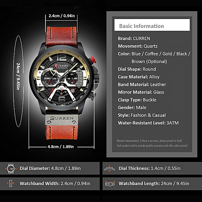 8329 Quartz Watch Business Men Simple Sport Wristwatch Three Sub-Dials  Calendar Second Minute 24 Hour Display 3ATM Waterproof Fashion Casual Male