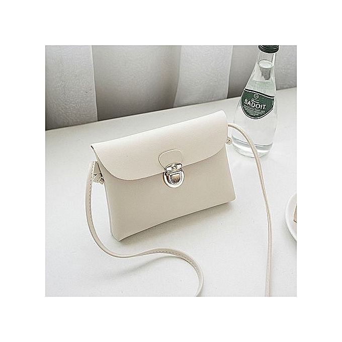 Korean Style Women's Bag Personality Metal Lock Small Square Bag Campus  Small Fresh Wild Mobile Phone Bag—white